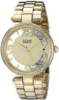 Burgi Women's BUR148YG Yellow Gold Quartz Watch with Swarovski Crystal Accents and Gold and See Thru Dial With Yellow Gold Bracelet