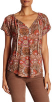 Lucky Brand Drawstring Split Neck Printed Tee