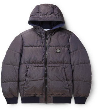 Stone Island Quilted Reflective Shell-Seersucker Down Jacket