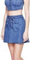 GUESS Women's Shalay Push-Up Laced Denim Miniskirt