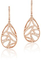 Effy Jewelry Effy Pave Rose 14K Rose Gold Diamond Drop Earrings, 0.74 TCW