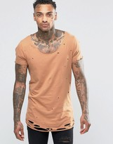 Asos Longline T-Shirt With Heavy Distressing In Brown