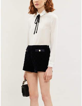 Claudie Pierlot Ruffled-trim crepe blouse