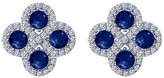 Lafonn Simulated Diamond Micro Pave Lab-Grown Blue Sapphire Square Cluster Stud Earrings