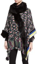 Missoni Wool Poncho w/ Fur Trim, Black/Multicolor