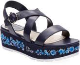 Christian Dior Women's Denim Leather Wedge Sandal
