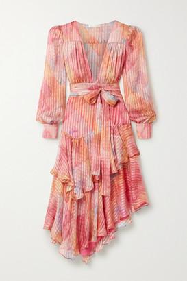 LoveShackFancy Meridian Ruffled Printed Silk-satin Jacquard Midi Dress - Pink