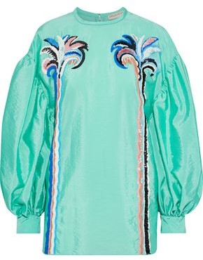 Emilio Pucci Embellished Crinkled-shell Blouse