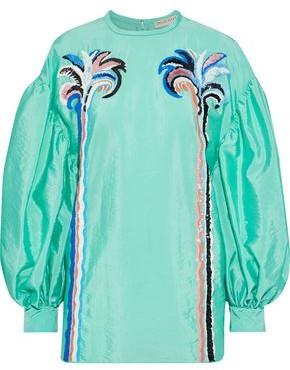 Emilio Pucci Embellished Crinkled-shell Blouse