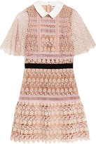 Self-Portrait Guipure Lace Mini Dress - Blush