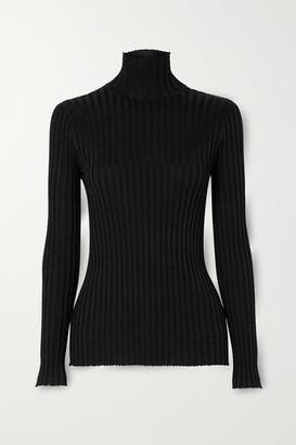 Victoria Victoria Beckham Glittered Ribbed-knit Turtleneck Sweater
