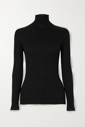Victoria Victoria Beckham Glittered Ribbed-knit Turtleneck Sweater - Black