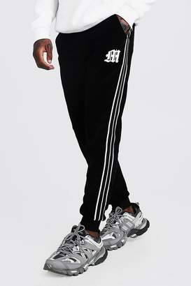 BoohoomanBoohooMAN Mens Black 'M' Embroidered Joggers With Tape Detail, Black