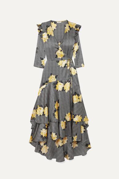 Ganni Asymmetric Tiered Silk-blend Wrap Dress - Black