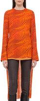 Akris Zebra-Print High-Low Tunic Blouse, Orange