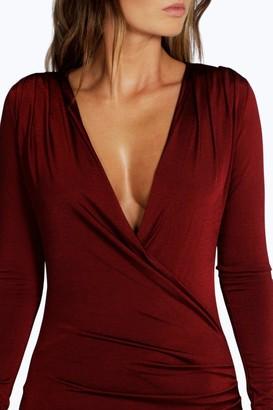 boohoo Slinky Drape Front Sleeve Bodycon Dress