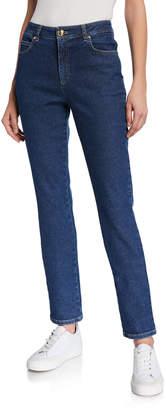 Escada J659 Crest-Embroidered Straight-Leg Jeans