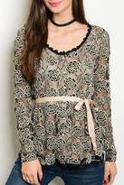 Amitie Clothing Taupe Black Blouse