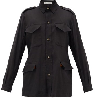 Umit Benan B+ - Safari Leather-belt Linen-blend Shirt - Black