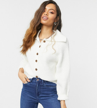 ASOS DESIGN Petite button through cardigan with collar in cream