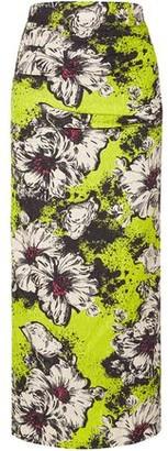 Miu Miu Ruched Floral-print Silk-blend Cloque Midi Skirt