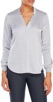Ivanka Trump Silky V-Neck Button-Up Shirt
