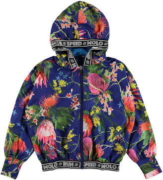 Molo Girl's Ophelia Floral Print Zip-Up Hooded Jacket, Size 5-16