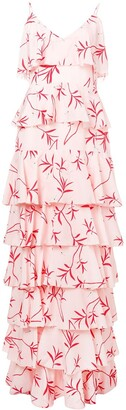 Borgo de Nor Olive Branch Print Ruffled Tier Dress