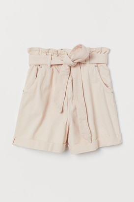 H&M Denim Paper-bag Shorts - Pink