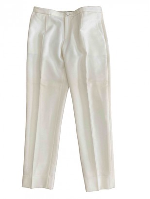 Bouchra Jarrar Ecru Wool Trousers for Women