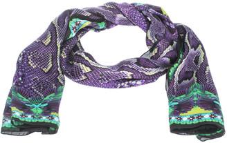 Roberto Cavalli Purple Snake Skin Print Silk Scarf