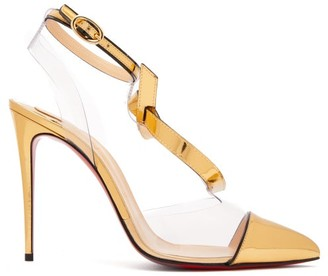 Christian Louboutin Alta Firma 100 Metallic-leather And Pvc Pumps - Womens - Gold