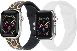 Posh Tech Leopard/White Apple Watch Replacement Band - Set of 2