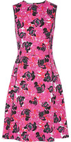Oscar de la Renta Floral-print Stretch-cotton Poplin Dress - Fuchsia