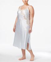 Oscar de la Renta Plus Size Lace-Trimmed Charmeuse Long Nightgown
