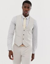 Asos Design DESIGN wedding super skinny suit vest in dove gray