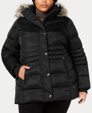 London Fog Plus Size Hooded Faux-Fur-Trim Puffer Coat