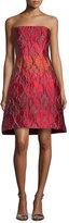 Alberta Ferretti Strapless Jacquard Party Dress, Fantasy Print Red