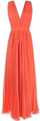Alberta Ferretti Pleated Silk Gown