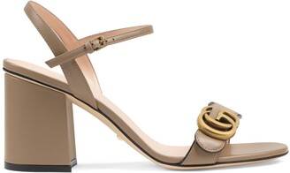 Gucci Leather mid-heel sandal with Double G