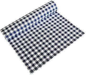 One Kings Lane Vintage Navy Blue & White Gingham Table Runner