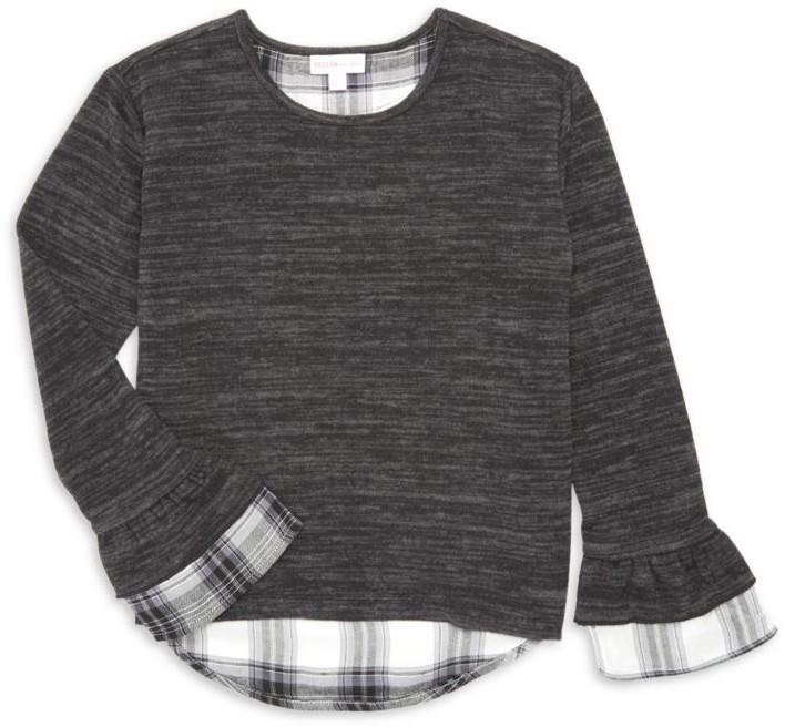 Design History Girl's Long-Sleeve Plaid Underlay Top