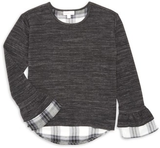Design History Girl's Long-Sleeve Plaid Underlay Top