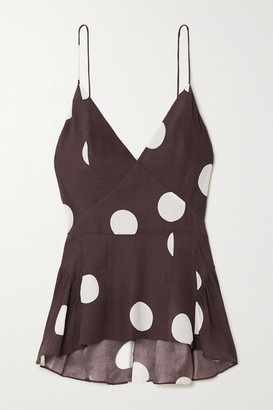 TOVE Delphi Polka-dot Silk-crepon Camisole - Brown