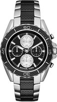 Michael Kors Men's Chronograph JetMaster Two-Tone Carbon Fiber Stainless Steel Bracelet Watch 43mm MK8454