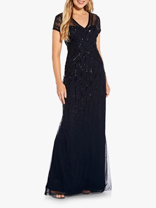 Adrianna Papell Sequin Embellished Short Sleeved Maxi Dress, Midnight Blue/Black