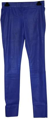 Les Chiffoniers Blue Leather Trousers for Women