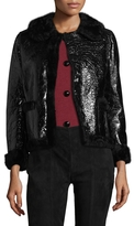 Marc Jacobs Women's Lamb Fur-Trimmed Leather Jacket