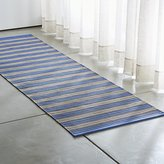 Crate & Barrel Sachi Blue Stripe Indoor/Outdoor Rug Runner