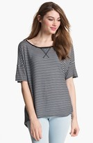 Vince Camuto Two by Stripe Tee Rich Black X-Small